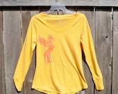 Orange Phoenix Print on Mustard Yellow Long Sleeve T-shirt - Women's Size L : OOAK