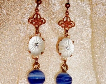 """Handmade GLASS Earrings - """"In Vienna"""" - VINTAGE Frosted Glass w/Rhinestone, Marble Look Glass Dangle & Old Small Filigree, OOAK Gypsy Design"""
