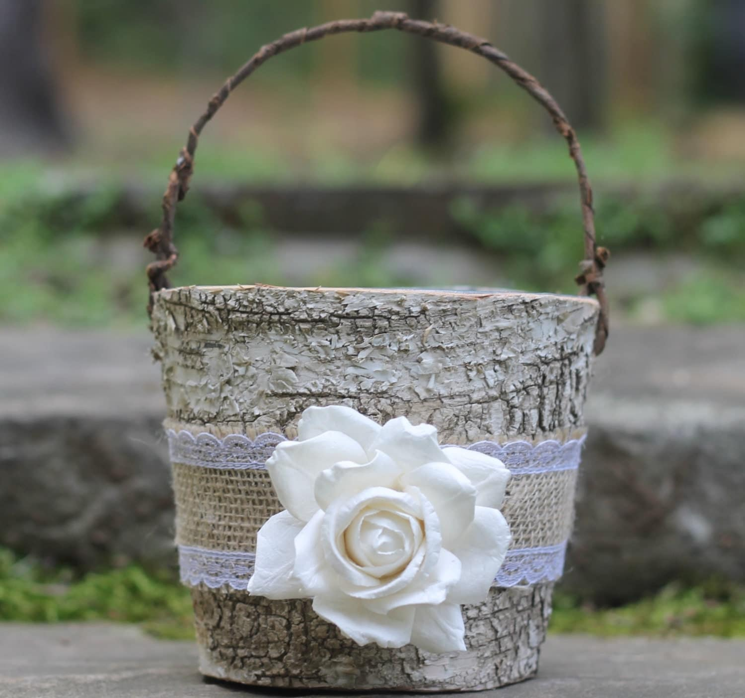 Rustic Burlap Flower Girl Baskets : Birch flower girl basket rustic burlap lace by michelescottage