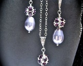 Bridal jewelry -  Pearl necklace and earring set - Purple - Amethyst  -Pearl drops - Bridesmaids- Sterling Silver - Wedding Jewelry -