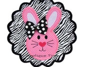 Instant Download Scalloped Framed Bunny Machine Embroidery Applique Design 4x4, 5x7 and 6x10