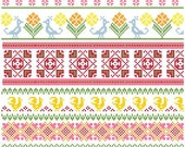 Baltic Folk Borders Cross Stitch Pattern PDF