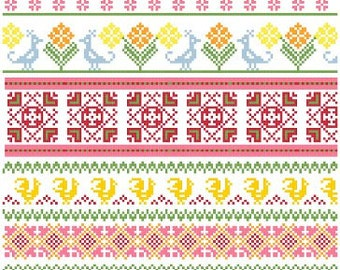 Baltic Folk Borders Cross Stitch Pattern PDF