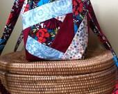 Floral Crazy Patchwork Teal Burgundy Tote Handbag