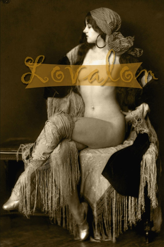 MATURE... Nude Attitude... Instant Digital Download... 1920's Vintage Erotic Glamour Fashion Photo by Lovalon