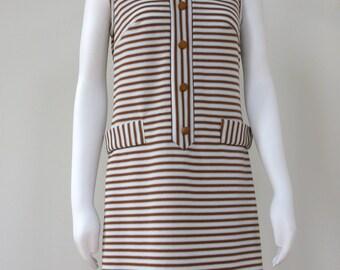 Vintage 1960's Dress Mod Striped Shift Dress