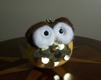 Needle Felted Owl Coin Purse