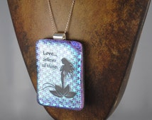 Love Necklace Beautiful Purple and Turquoise Dichroic Fused Glass Pendant