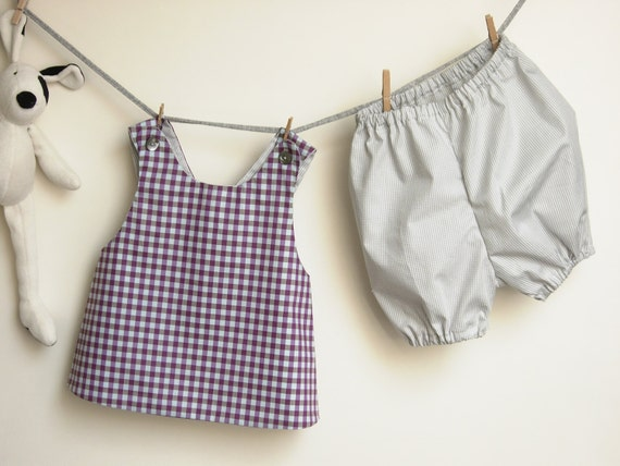 Handmade baby outfit pinafore dress with bloomers for little girl, pure cotton, checked purple and grey, 12 months, made to order - robedellarobi