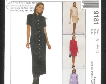 McCall's 9181 Slim Princess Line Dress, Top and Skirt, Misses' Sizes 6, 8, 10 UNCUT