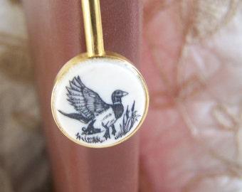 "Vintage 80's ""DELART CREATIONS"" BOOK Mark with Scrimshaw Art Wild Duck Adornment"