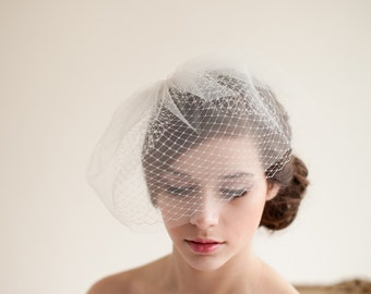 Double Layer Birdcage Veil, blusher veil, birdcage veil, tulle veil, wedding veil, mini veil - Jane Style 7413