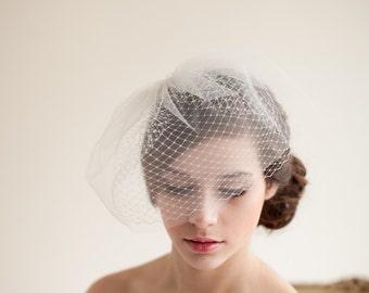 Doble capa Velo del Birdcage, colorete velo velo del birdcage, velo de tul, velo de novia, velo de mini - Jane estilo 7413