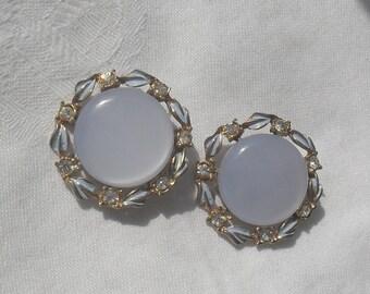 Earrings Moonglow Clip On with Rhinestone Trim Blue Moonglow Vintage Earrings SALE