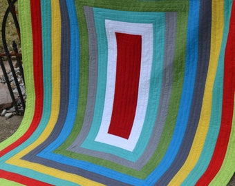 Wall art Handmade Rainbow Quilt Hippie Patchwork Modern Hipster Lap Quilt Multi Color Bold Graphic Funky Contemporary Bright Color Quilt