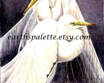 Egrets 5x7 original watercolor painting, art & collectibles home decor earthspalette