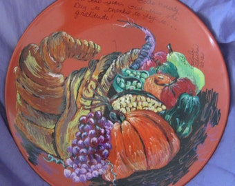 11 inch Orange painted plate,The Harvest and Bounty a hand painted plate for Thanksgiving home decor