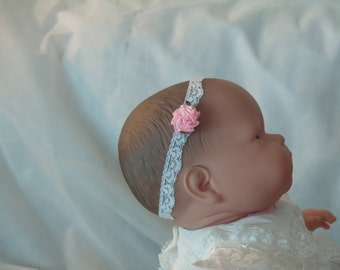 Infant stretch headband, Baby girl pink flower on lace, baby lace hair accessory, White Lace Headband, Pink Flower, Shower Gift, New Baby