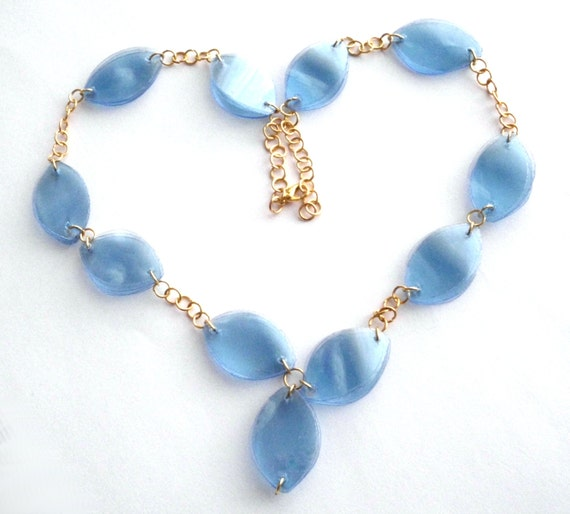 Upcycled jewelry light blue statement necklace by dekoprojects for Jewelry made from plastic bottles