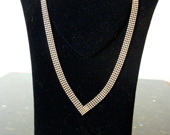 SALE Vintage Silver Silver Pearls Flat Necklace with Pointed Front