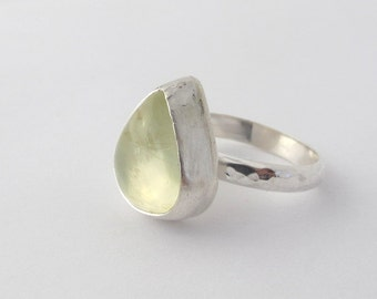 Gemstone ring, Silver Ring with Natural Prehnite Gemstone, Size 6.5, Hand made, sterling silver,Christmas gift