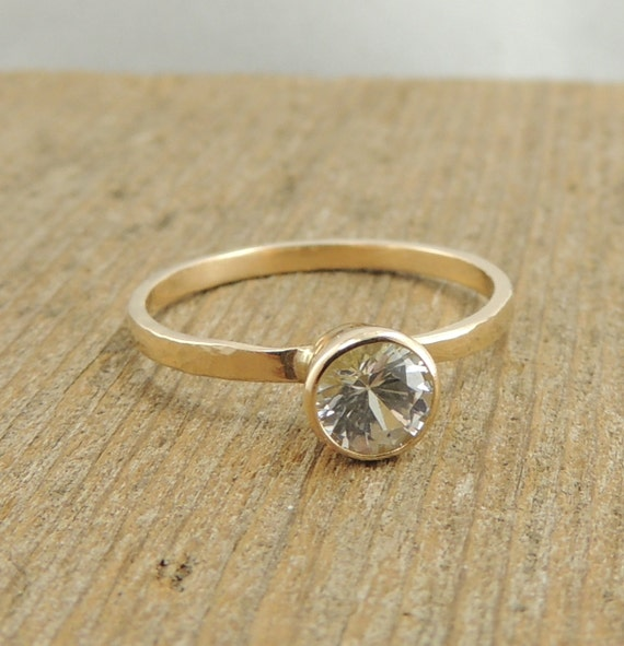 White Sapphire 14k Gold Ring Simple Sapphire by PointNoPointStudio