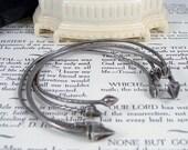 Victorian Sterling Silver Bracelet Snake, Acorn Set of 4 Bangles