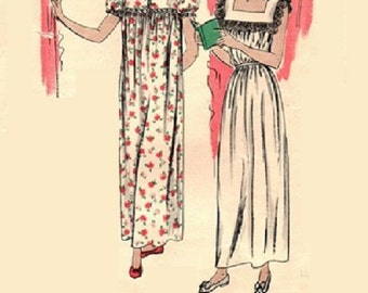 1940s Nightgown Lingerie Negligee House Dress Vintage Vogue Sewing Pattern Short Puff Sleeves Bust 34-36