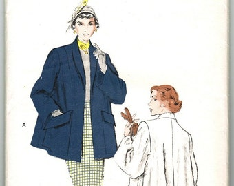 Butterick 5625 Vintage 50s Divine Topper Coat with Rolled Shawl Collar & Huge Patch Pockets Size 16 Bust 34