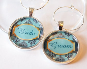Wedding Wine Charms, Bride Groom, Wine Charms, silver plate, barware, Wedding Shower, wedding reception, teal (2009)