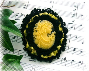 Cameo Brooch - Crochet Brooch -Victorian Young Lady Black Yellow Cameo Brooch Pin