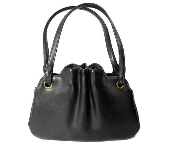 1960s Black Leather Cinched Handbag / Mad Men / Small Purse / Womens Vintage Purse Handbag