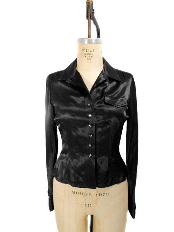 1990s Nanette Lepore Black Satin Blouse / Robespierre / Office Fashion / Shiny Blouse Button Front / Womens Vintage Blouse / Size 6