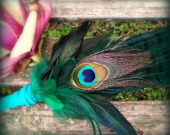 Smudge Fan-Pheasant-Peacock Feather-Pay with PayPal get a free spell in the box! -Blue Green-Cruelty free feathers