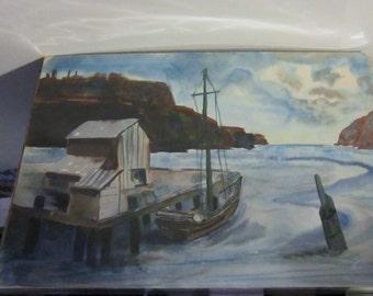 Vintage Watercolor Harbor Scene Painting Retro Original Watercolor Painting