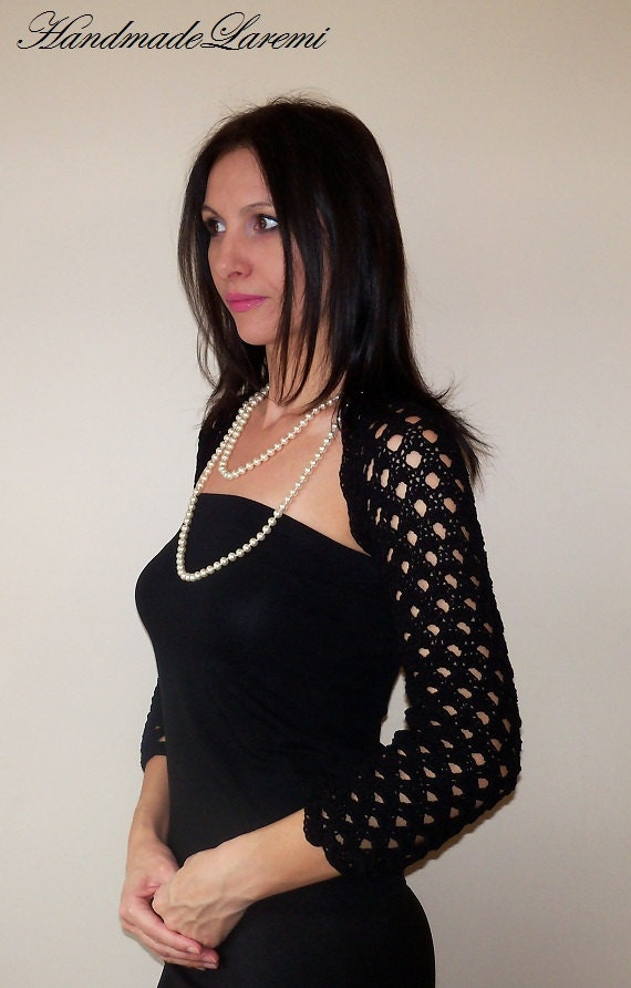 to Black WEDDING BOLERO / Crochet lace SHRUG / Elegant bolero jacket ...