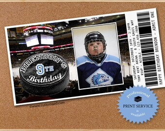 "HOCKEY Birthday Invitations - PERSONALIZED with PHOTO - Printable ""Admit One"" Ticket"