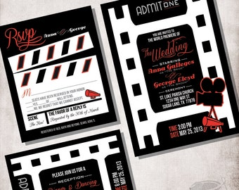 wedding invitation movie ticket file only - Movie Ticket Wedding Invitations