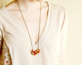 Handmade Necklace on chain with tiny colorful flowers