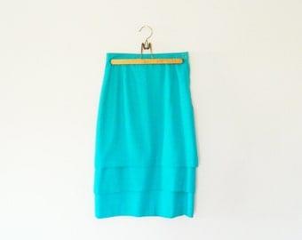 "High Waisted Aqua Blue Vintage Pencil Skirt / Three Tiered Wiggle Skirt / Bright Blue Layered Skirt / 27"" Waist"