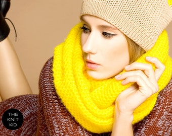 YELLOW infinity scarf circle loop snood cowl mohair cotton wool theknitkid the knit kid