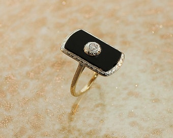Antique Ring - Antique14k Two-Tone Black Onyx and Diamond Ring