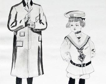 1910 Fashion Original Pen/Ink Wash on Paper/Edwardian Girl and Boy Black & White