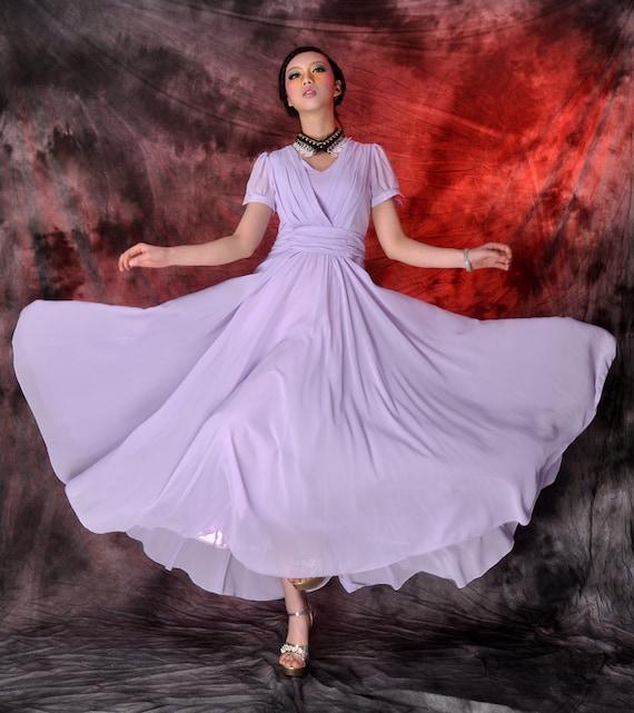 purple chiffon maxi dress,circle dress,long dress,wedding dress,beach dress