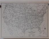 US Highway & Railroad Vtg Map