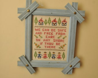 Vintage Mid Century Cross Stitch Sampler Baby Blue Frame