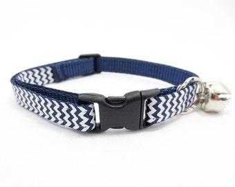 Blue Chevron Cat Collar