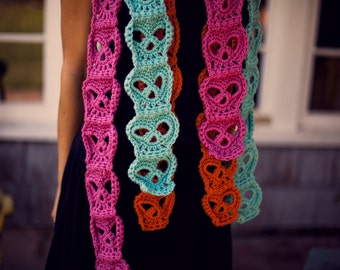 Hand Crocheted Classic Skull Scarf more colors
