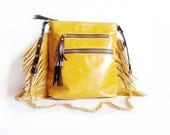 Fringe Leather Purse, Yellow Mustard Cross Body Bag, Leather Shoulder Bag, Leather fringes, Messenger Bag, Studded Bag