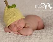 Newborn Photo Prop, Baby Girl Photo Prop, Baby Girl Knit Hat, Baby Boy Knit Hat, Yellow Lemon Hat, Photo Prop Baby Girl, Spring Baby Hat